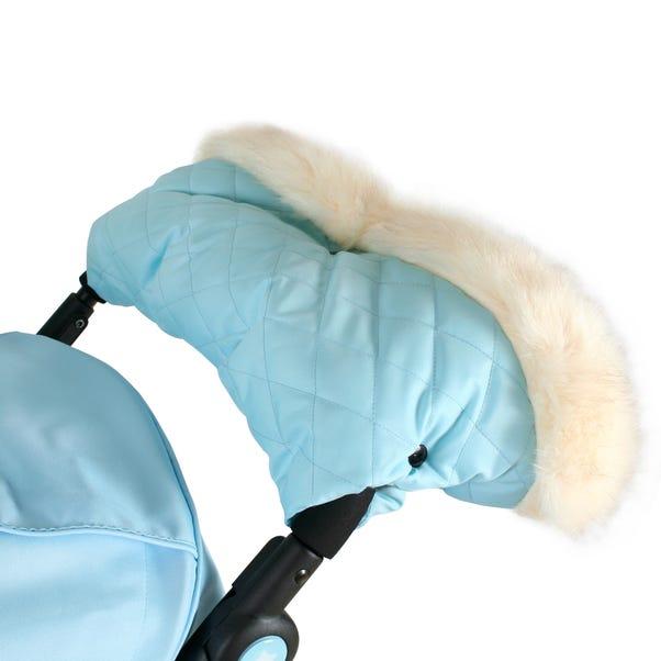 My Babiie Baby Blue Faux Fur Trim Handmuff Blue