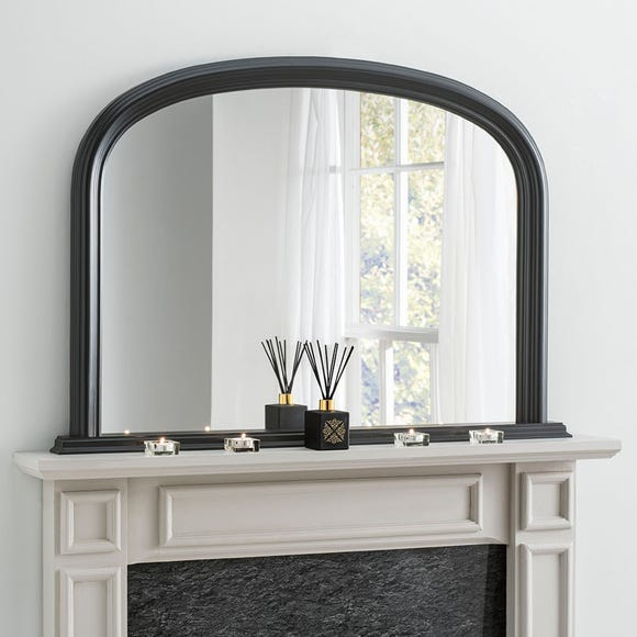 Yearn Contemporary Overmantle Mirror 112x77cm Black Black