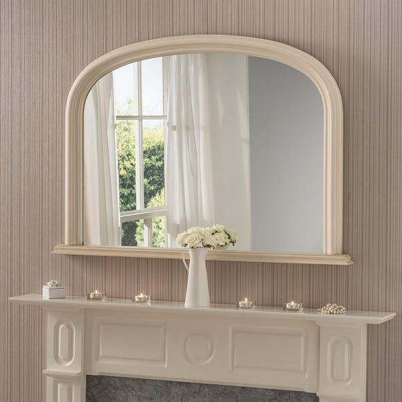 Yearn Contemporary Overmantle Mirror 112x77cm Ivory Ivory