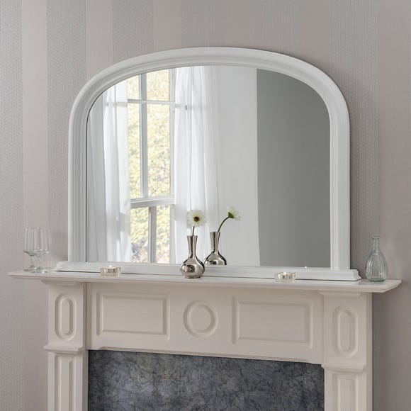 Yearn Contemporary Overmantle Mirror 112x77cm White White