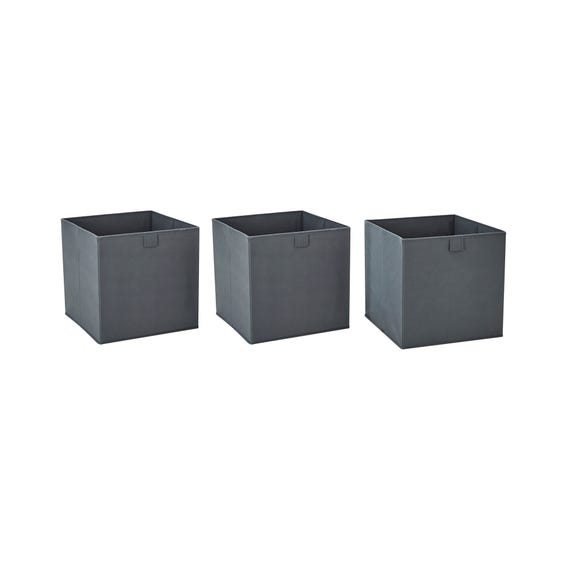 Set of 3 Grey Foldable Storage Boxes Grey