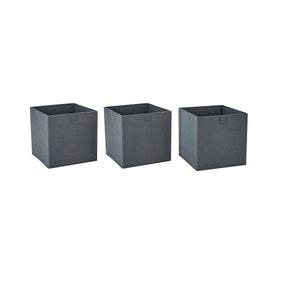 Set of 3 Grey Foldable Storage Boxes