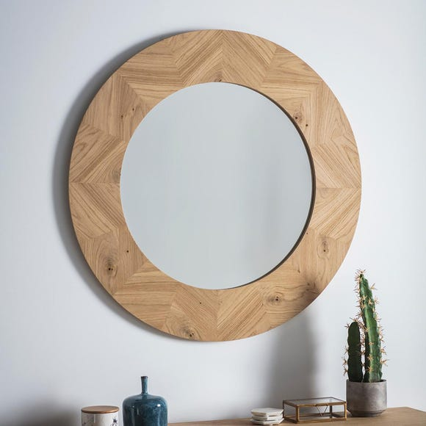 Milano Rustic Oak Wall Mirror Natural