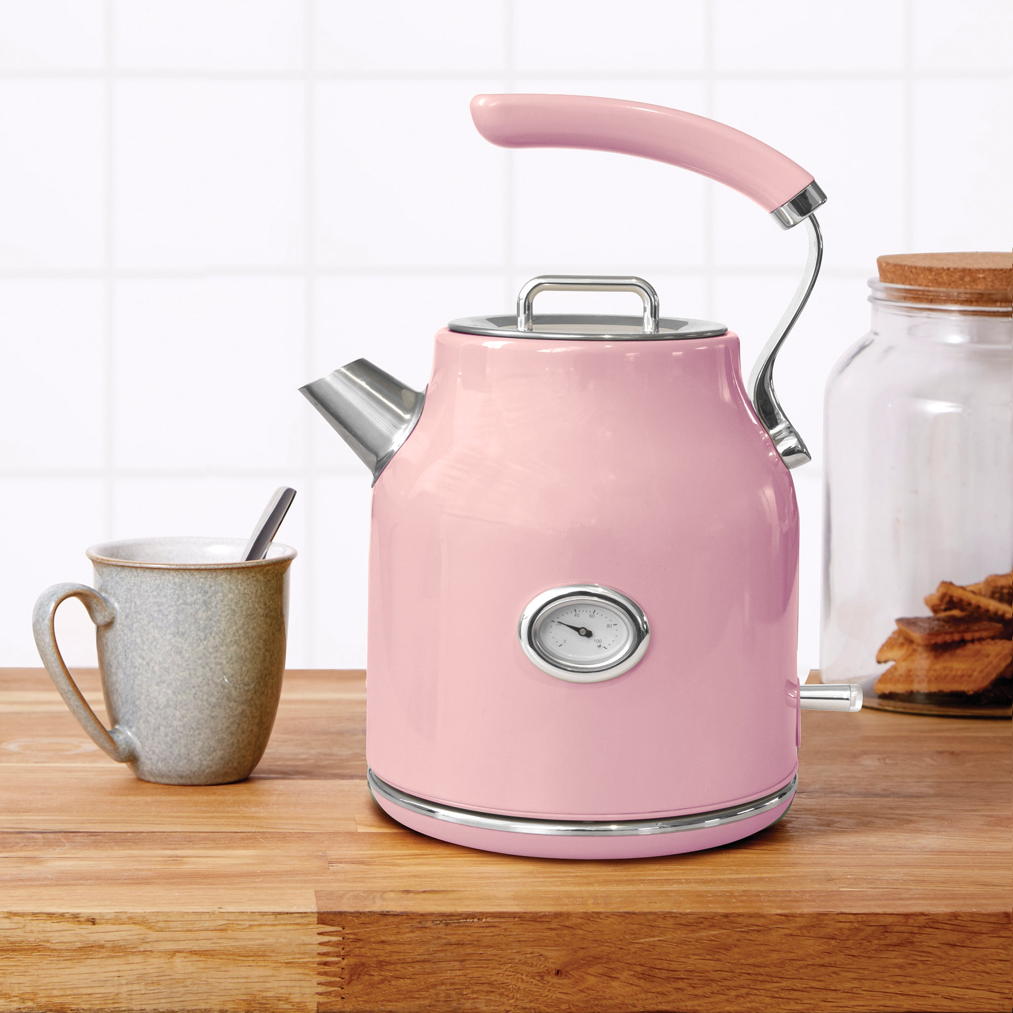 Retro 17l 3kw Pink Jug Kettle Pink And Silver