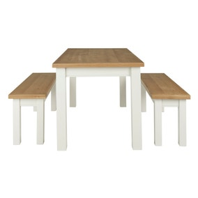Compton Ivory Dining Table and Bench Set
