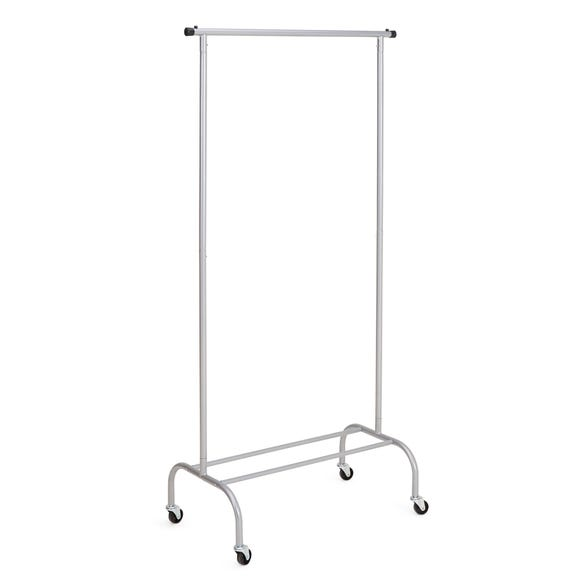 Clothes Rail with Wheels Silver
