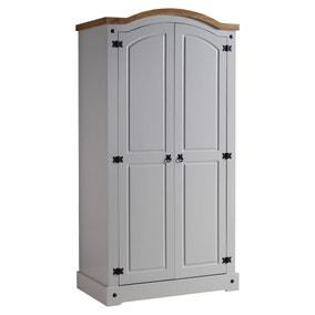 Corona Grey 2 Door Curved Top Wardrobe