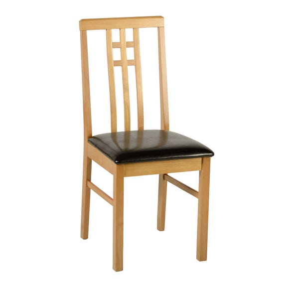 Vienna Dining Chair Brown PU Leather Natural