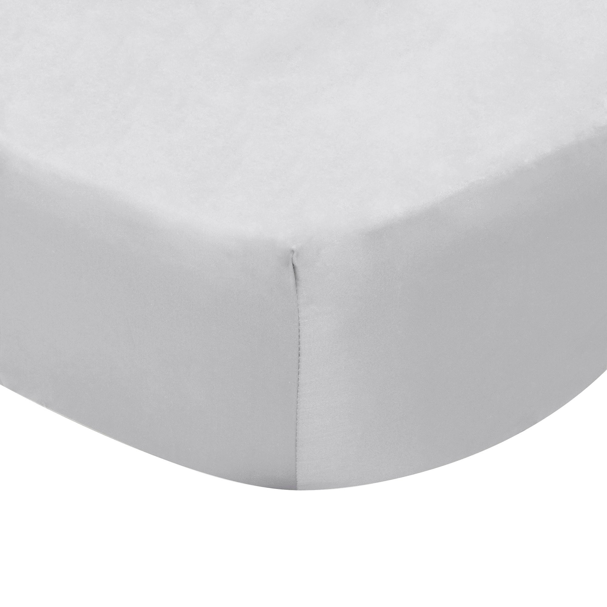 Photo of Dorma 300 thread count 100 cotton percale plain fitted sheet silver