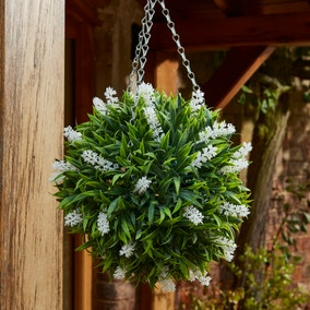 Artificial White Flower Hanging Topiary Ball