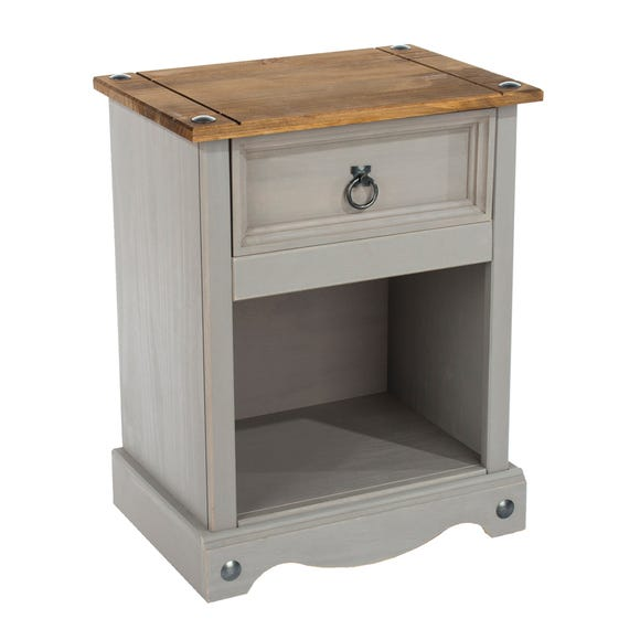 Corona 1 Drawer Grey Bedside Cabinet