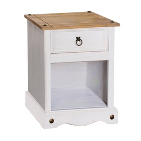 Corona 1 Drawer White Bedside Cabinet