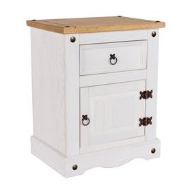 Corona 1 Door White Bedside Cabinet