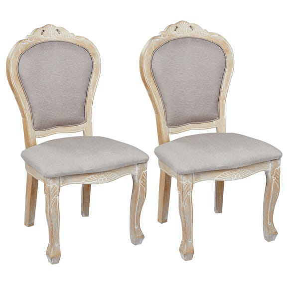 Provence Padded Pair of Dining Chairs White