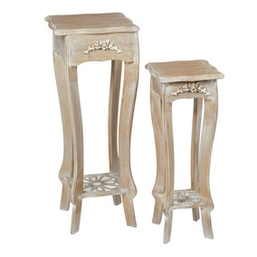 Provence White Set of 2 Plant Stands