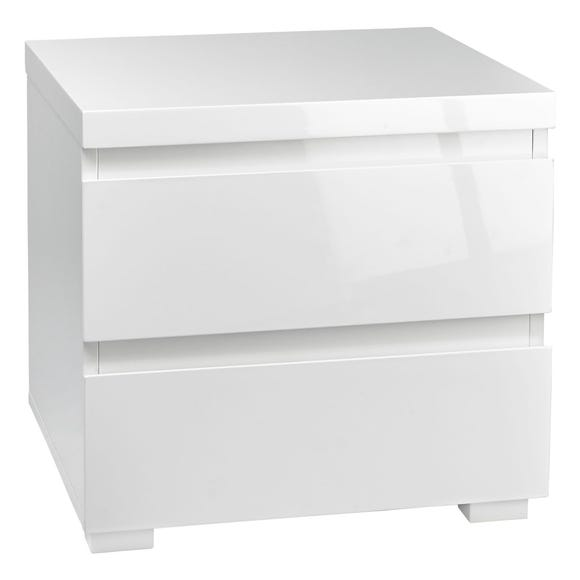 Puro White 2 Drawer Bedside Cabinet