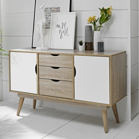 Scandi 3 Drawer White Sideboard