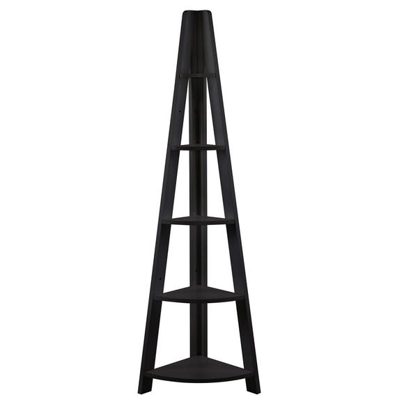 Tiva Wooden Corner Ladder Shelving Black