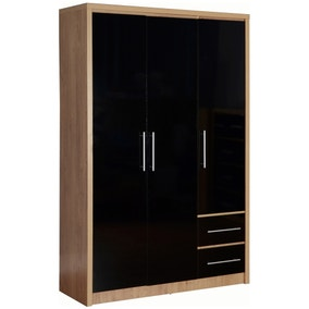 Seville 3 Door 2 Drawer Black Wardrobe