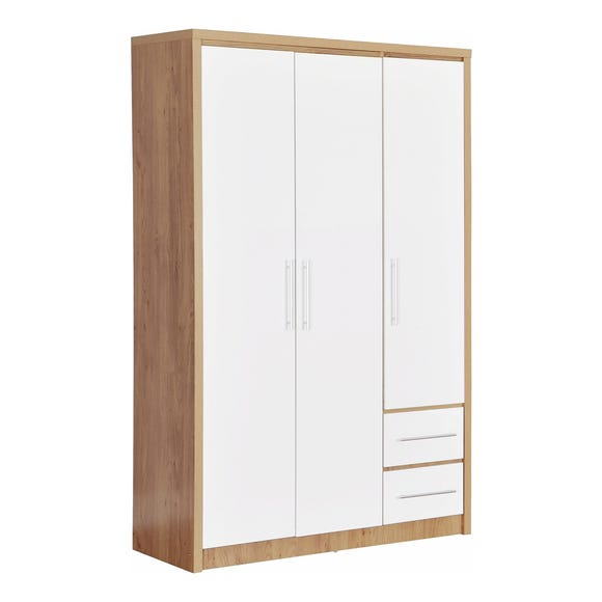 Seville 3 Door 2 Drawer White Wardrobe