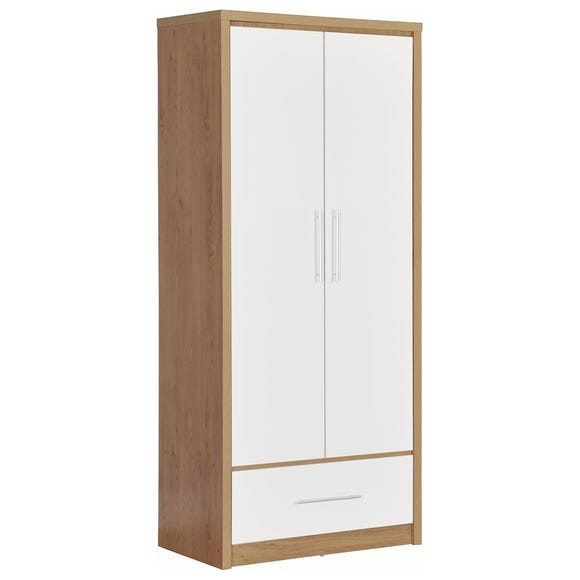 Seville 2 Door 1 Drawer White Wardrobe