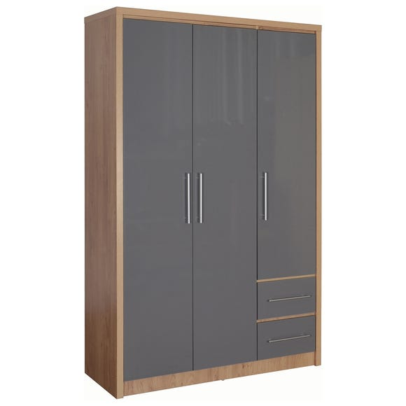 Seville 3 Door 2 Drawer Grey Wardrobe Grey