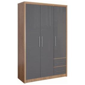 Seville 3 Door 2 Drawer Grey Wardrobe