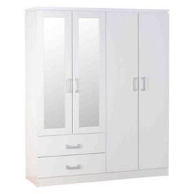 Charles White 4 Door 2 Drawer Mirrored Wardrobe