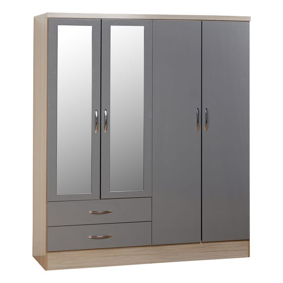 Nevada 4 Door 2 Drawer Grey Mirrored Wardrobe