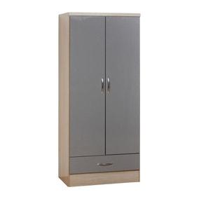Nevada 2 Door 1 Drawer Grey Wardrobe