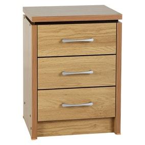 Charles 3 Drawer Oak Bedside Table