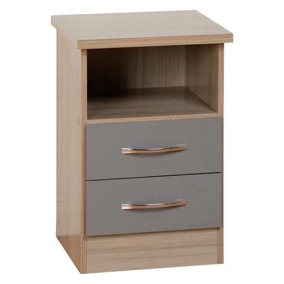Nevada 2 Drawer Grey Bedside Table