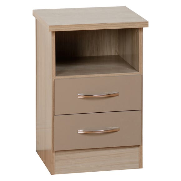 Nevada 2 Drawer Oyster Bedside Table Oyster