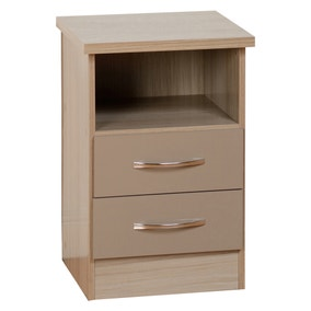 Nevada 2 Drawer Oyster Bedside Table