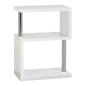 Charisma 3 Shelf High Gloss White Bookcase