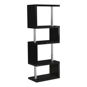 Charisma 5 Shelf High Gloss Black Bookcase