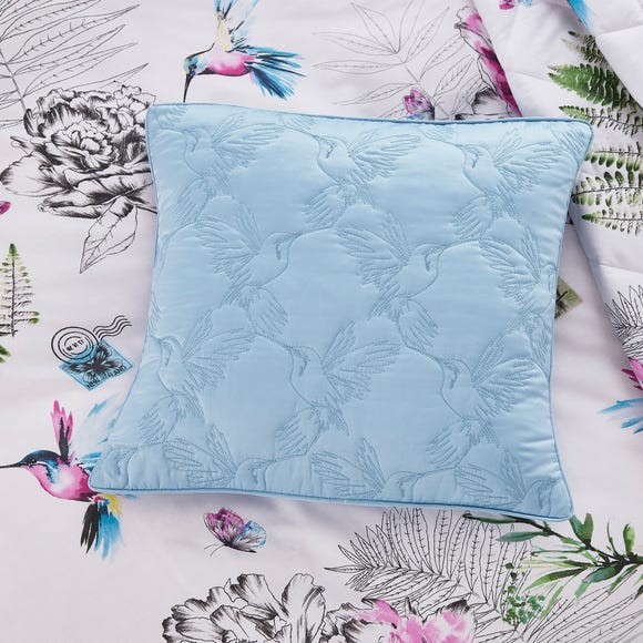 Heavenly Hummingbird Square Cushion Blue