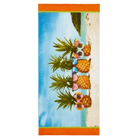 Catherine Lansfield Pineapple 76x160cm Multi Coloured Beach Towel