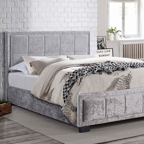 Hannover Steel Crushed Velvet Bed Frame