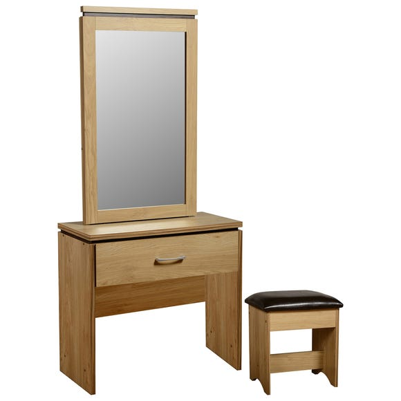 Charles Oak 1 Drawer Dressing Table Set Brown