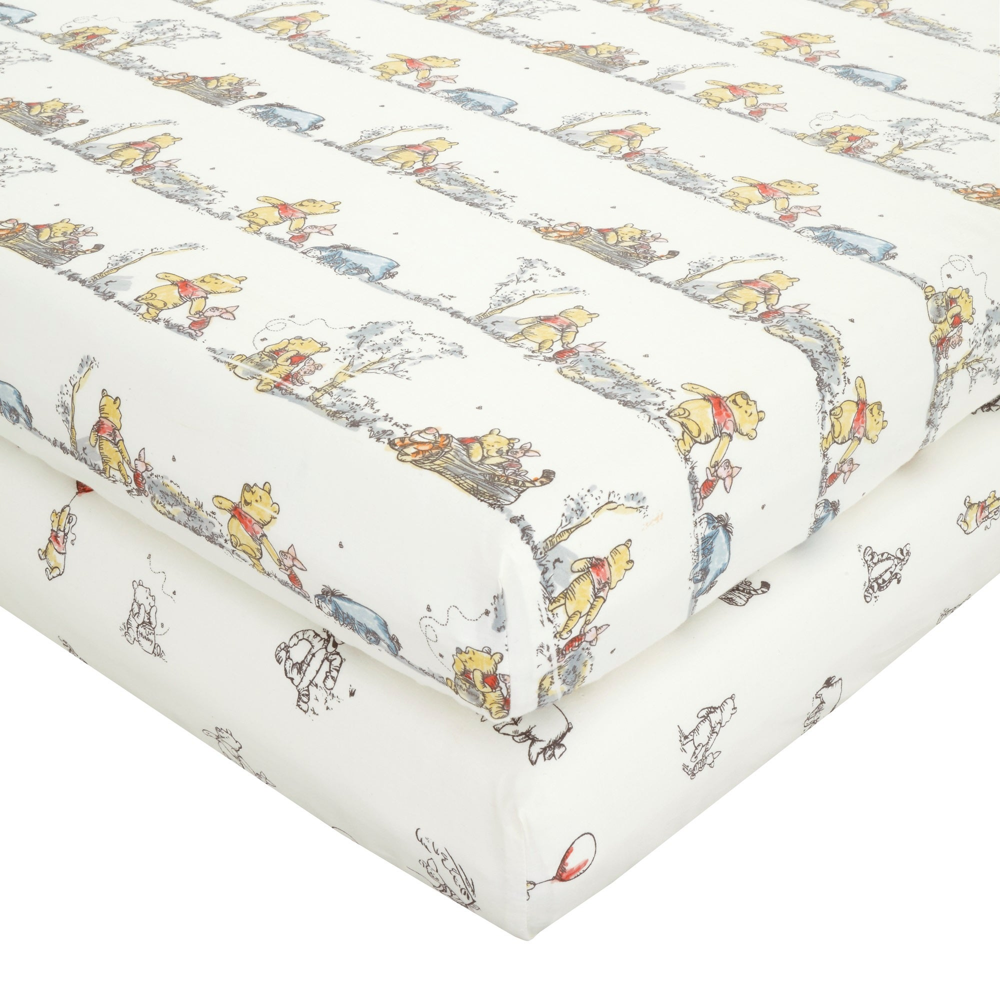 Photo of Disney winnie the pooh pack of 2 fitted sheets cream