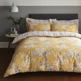 Ashbourne Ochre Reversible Duvet Cover and Pillowcase Set