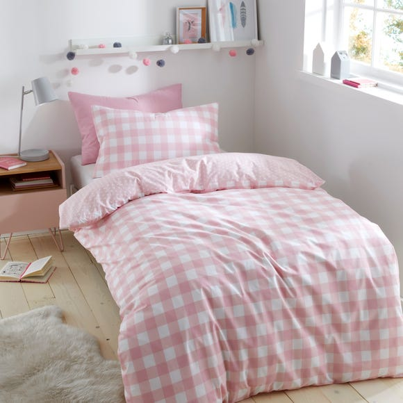 Gingham Pink Duvet Cover and Pillowcase Set Pink undefined