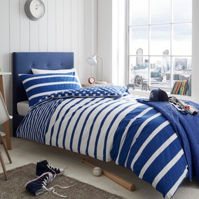 Blue Stars and Stripes Reversible Duvet Cover and Pillowcase Set