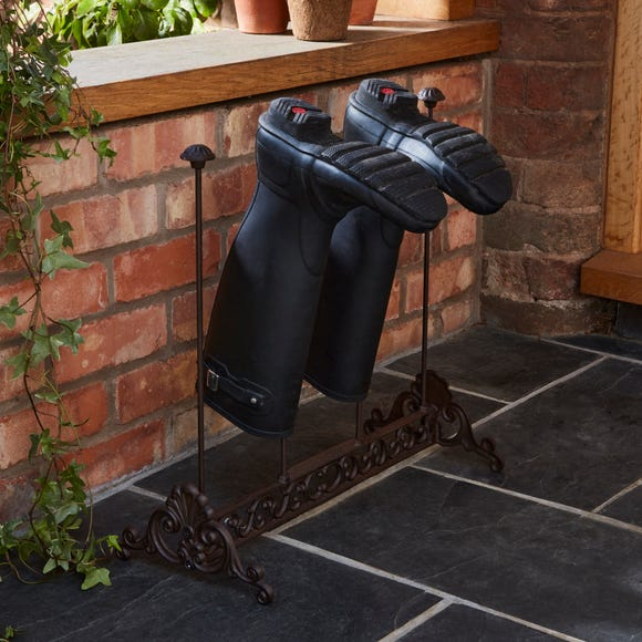 Cast Iron Welly Boot Holder Brown