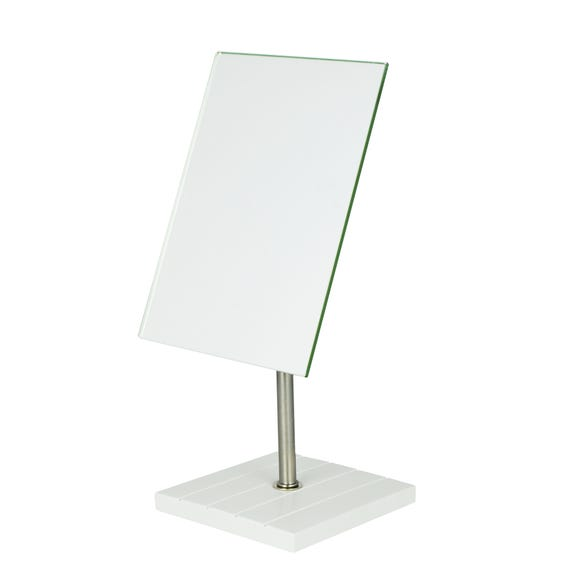 Tongue and Groove Pedestal Mirror White