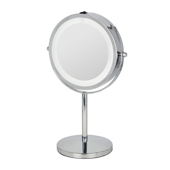 7 Inch Double Sided LED Pedestal Mirror Chrome