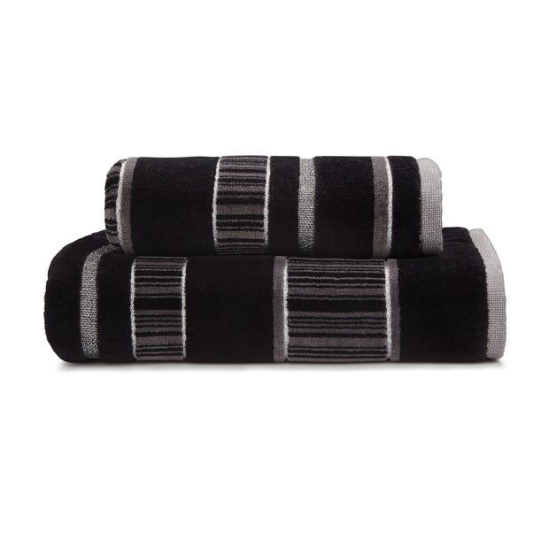 Sheared Stripe Black Towel  undefined