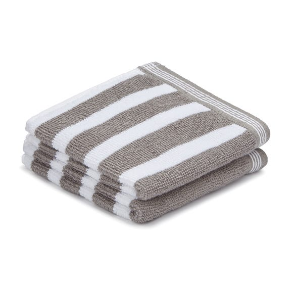 Pack of 2 Grey Stripe Face Cloths Grey