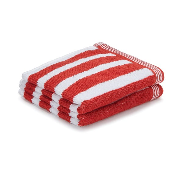 Pack of 2 Red Stripe Face Cloths Red